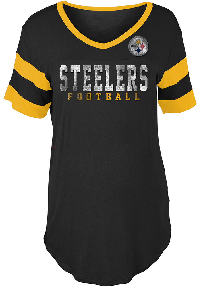 Pittsburgh Steelers Womens Black Athletic Short Sleeve T-Shirt - Image 1