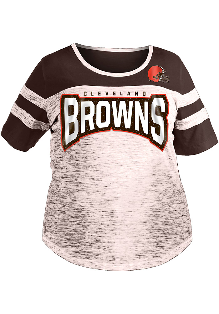 Cleveland Browns Womens Brown Athletic Short Sleeve T-Shirt - Image 1