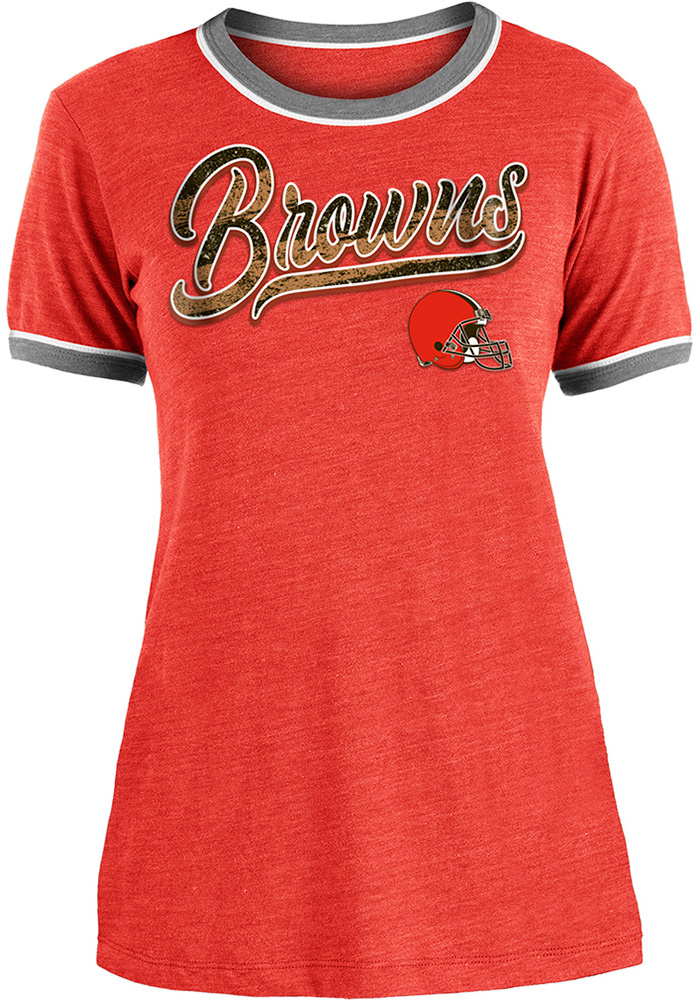 Cleveland Browns Womens Red Triblend Short Sleeve T-Shirt - Image 1