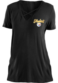 Pittsburgh Steelers Womens Black Washes T-Shirt