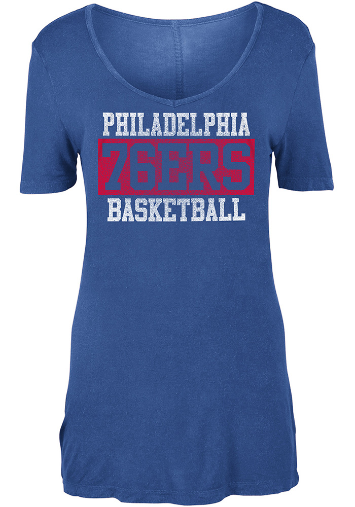 Philadelphia 76ers Womens Blue Washes Short Sleeve T-Shirt - Image 1