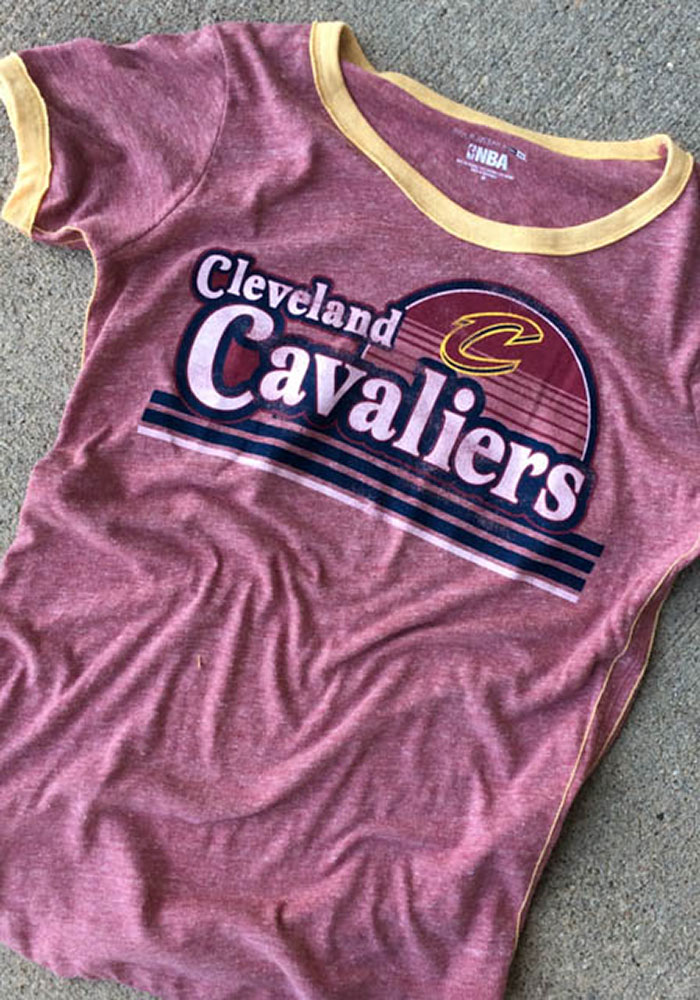 Cleveland Cavaliers Womens Red Ringer Short Sleeve T-Shirt - Image 2