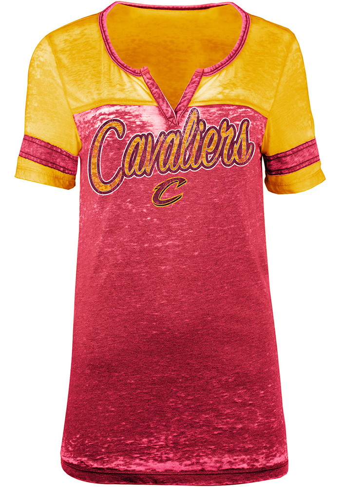 Cleveland Cavaliers Womens Red Burnout Short Sleeve T-Shirt - Image 1