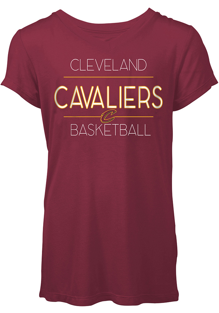 Cleveland Cavaliers Womens Red Relaxed Jersey Tee Short Sleeve T-Shirt - Image 1