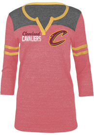 Cleveland Cavaliers Womens TriBlend Split Neck Red LS Tee