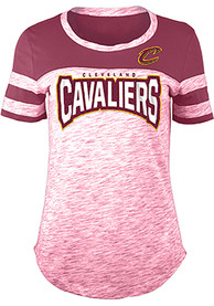Cleveland Cavaliers Womens Athletic Space Dye Rhinestone T-Shirt - Red