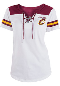 Cleveland Cavaliers Womens Athletic Lace Placket V Neck T-Shirt - White
