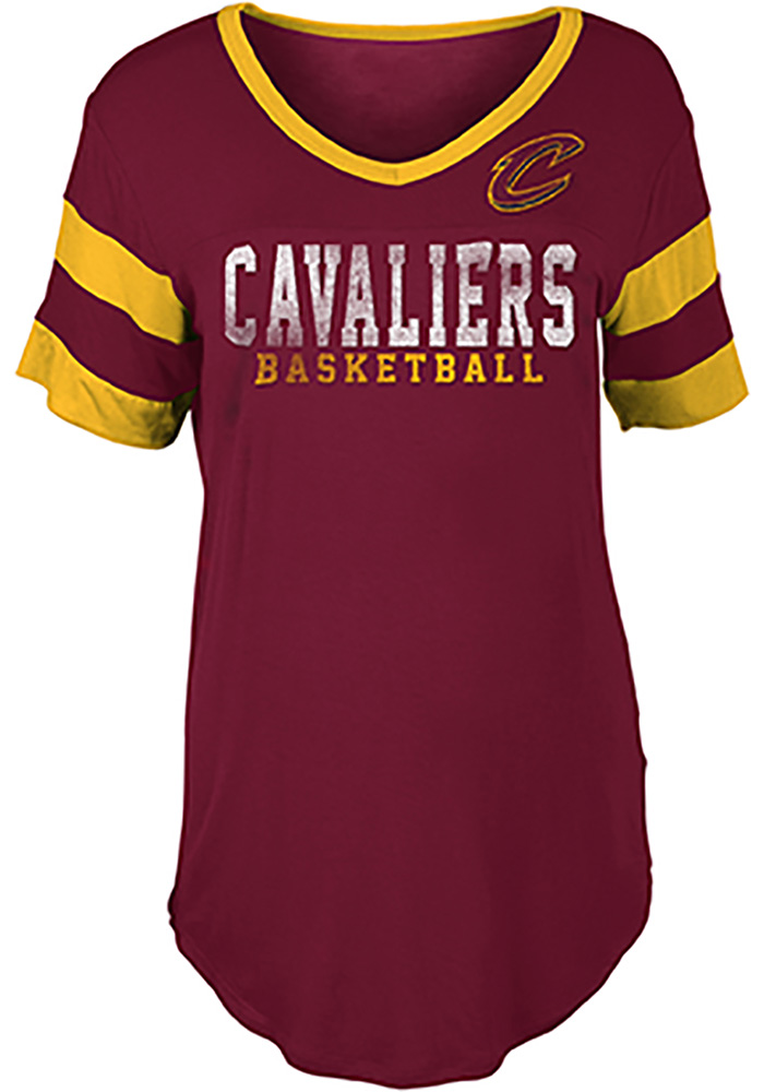 Cleveland Cavaliers Womens Red Athletic Sleeve Stripe V Neck T-Shirt 5fa7d60f5