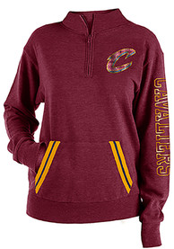 Cleveland Cavaliers Womens Triblend Sequin 1/4 Zip Pullover - Burgundy