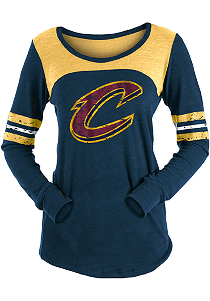 Cleveland Cavaliers Womens Navy Blue Triblend Contrast Yoke Scoop Neck LS Tee - Image 1
