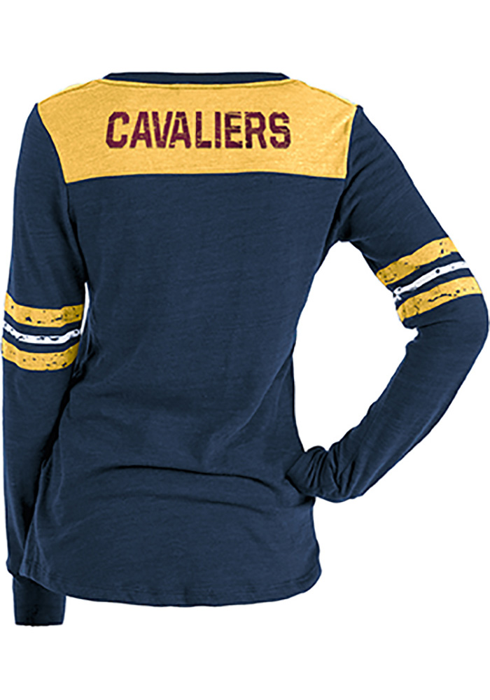 Cleveland Cavaliers Womens Navy Blue Triblend Contrast Yoke Scoop Neck LS Tee - Image 2