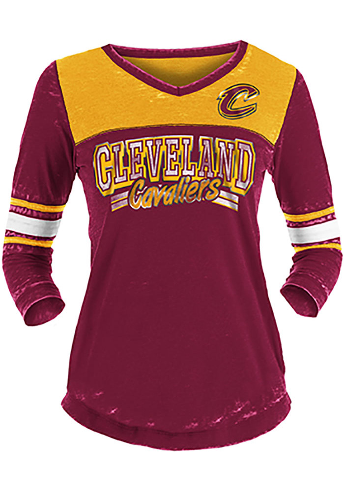 Cleveland Cavaliers Womens Washes Foil Burnout 3 4 V Neck Red LS Tee da948d620