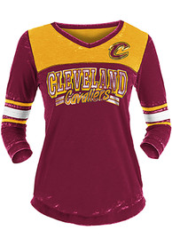 Cleveland Cavaliers Womens Washes Foil Burnout 3/4 V Neck T-Shirt - Red
