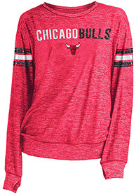 Chicago Bulls Womens Novelty Sweater Knit Crew Sweatshirt - Red