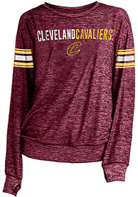 Cleveland Cavaliers Womens Novelty Sweater Knit Crew Sweatshirt - Red