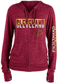 Cleveland Cavaliers Womens Novelty Sweater Knit Full Zip Jacket - Red