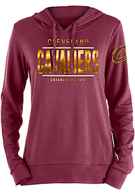 Cleveland Cavaliers Womens Novelty Foil Hooded Sweatshirt - Red