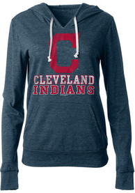 Cleveland Indians Womens Triblend Hooded Sweatshirt - Navy Blue