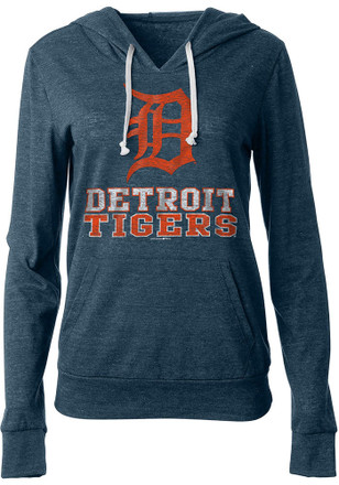Detroit Tigers Womens Navy Blue Tri-Blend Draw String Hoodie aa800d179