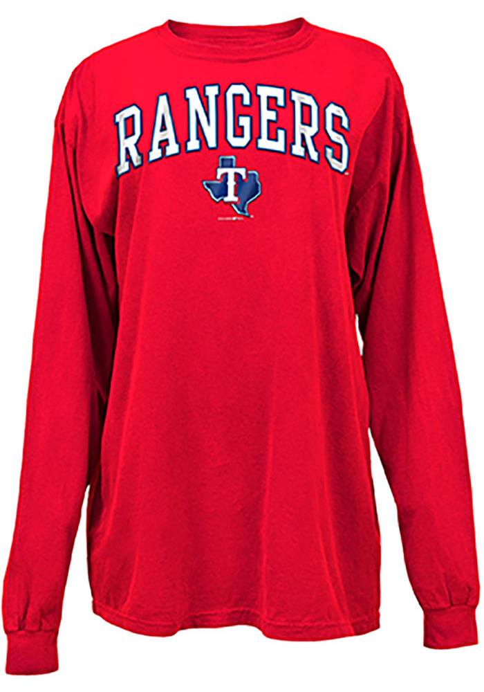 Texas Rangers Womens Red Comfort Colors LS Tee - Image 1