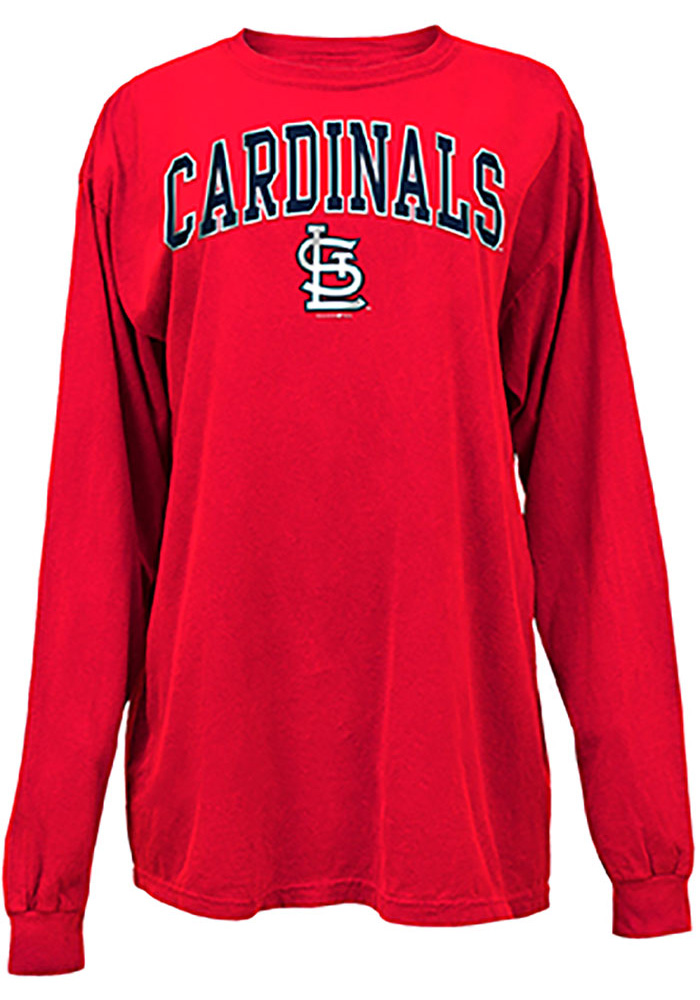 St Louis Cardinals Womens Red Comfort Colors LS Tee - Image 1