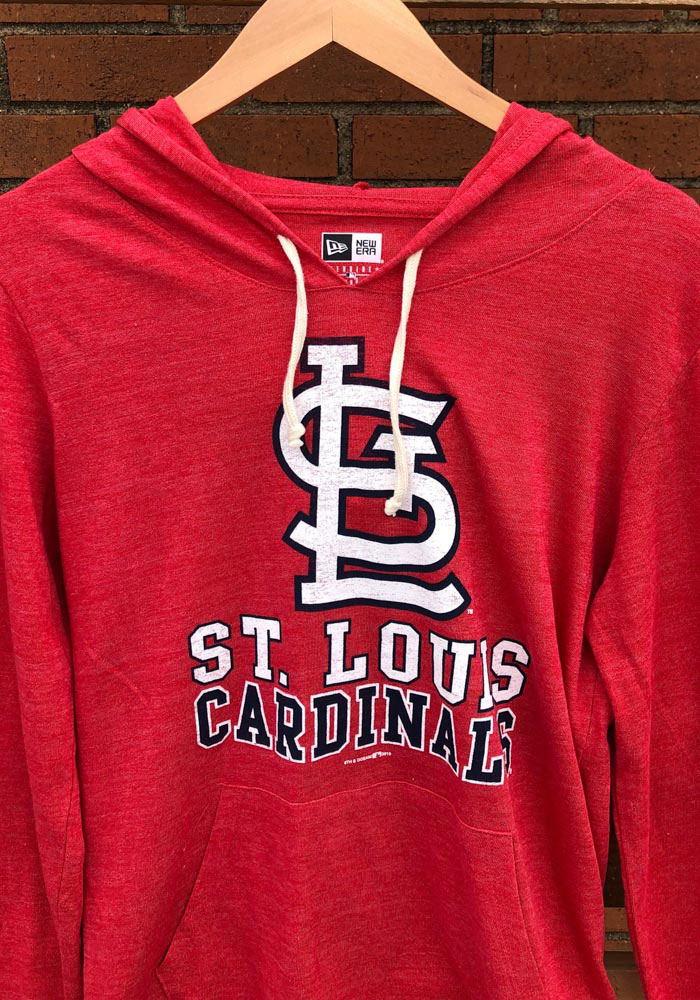St Louis Cardinals Womens Red Tri-Blend Draw String Hooded Sweatshirt - Image 2