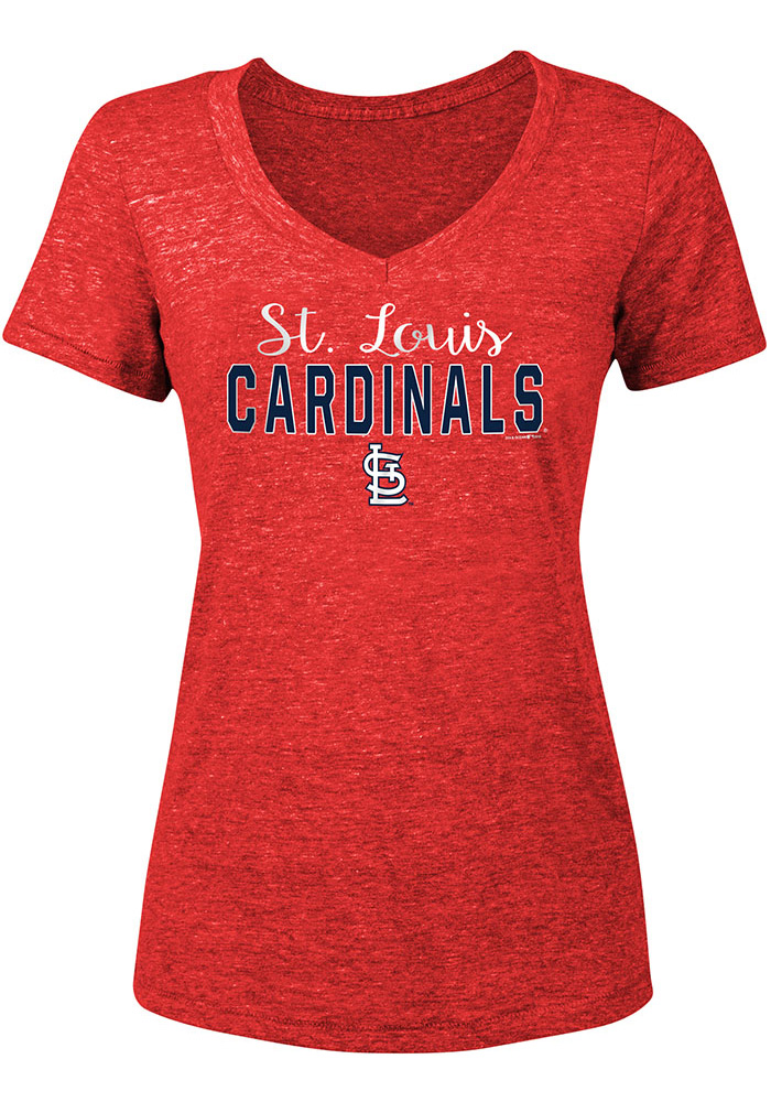 St Louis Cardinals Womens Red Player Script Short Sleeve T-Shirt - Image 2
