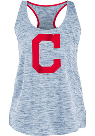 Cleveland Indians Womens Novelty Space Dye Racerback Tank Top - Navy Blue