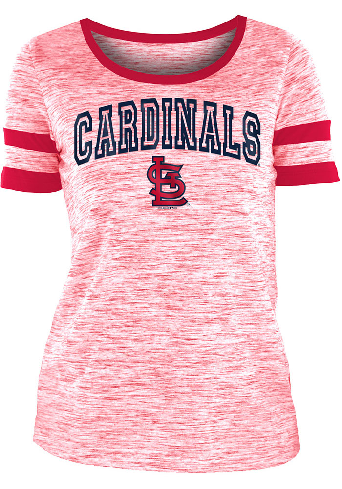 St Louis Cardinals Womens Red Novelty Space Dye Scoop Short Sleeve T-Shirt - Image 1