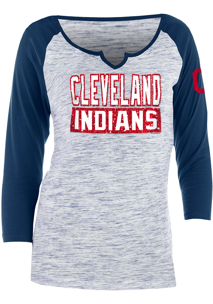 Cleveland Indians Womens Navy Blue Novelty Space Dye Raglan LS Tee - Image 1