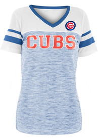 Chicago Cubs Womens Novelty Space Dye Contrast Yoke T-Shirt - Blue