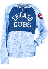 Chicago Cubs Womens Novelty Space Dye Contrast Full Zip Jacket - Blue