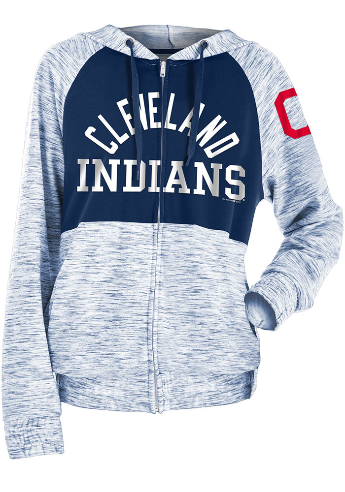 Cleveland Indians Womens Navy Blue Novelty Space Dye Contrast Long Sleeve Full Zip Jacket - Image 1