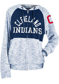 Cleveland Indians Womens Novelty Space Dye Contrast Full Zip Jacket - Navy Blue