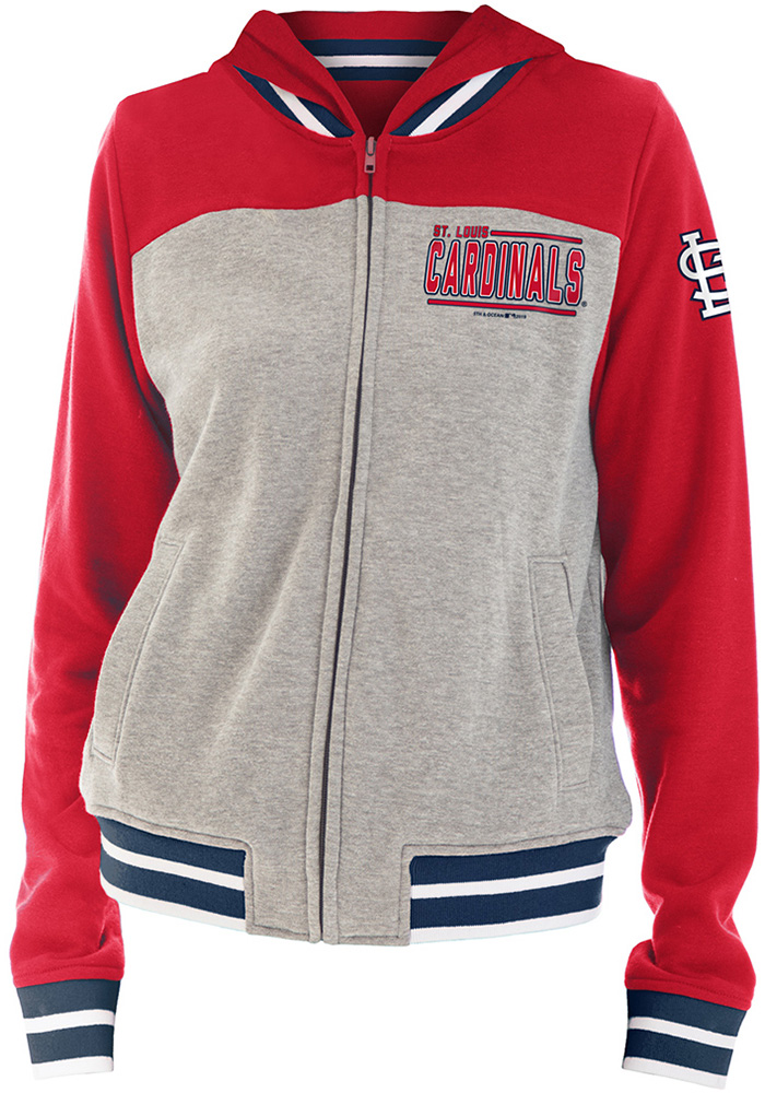 St Louis Cardinals Womens Grey Opening Night French Terry Long Sleeve Full Zip Jacket - Image 1