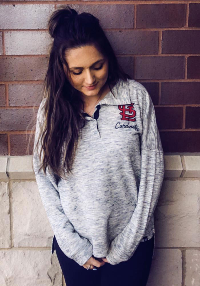 St Louis Cardinals Womens Grey Opening Night French Terry Long Sleeve Full Zip Jacket - Image 2