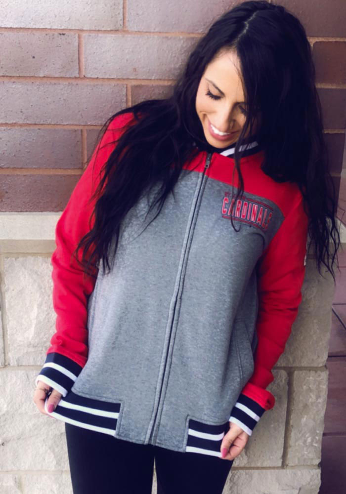 St Louis Cardinals Womens Grey Opening Night French Terry Long Sleeve Full Zip Jacket - Image 3