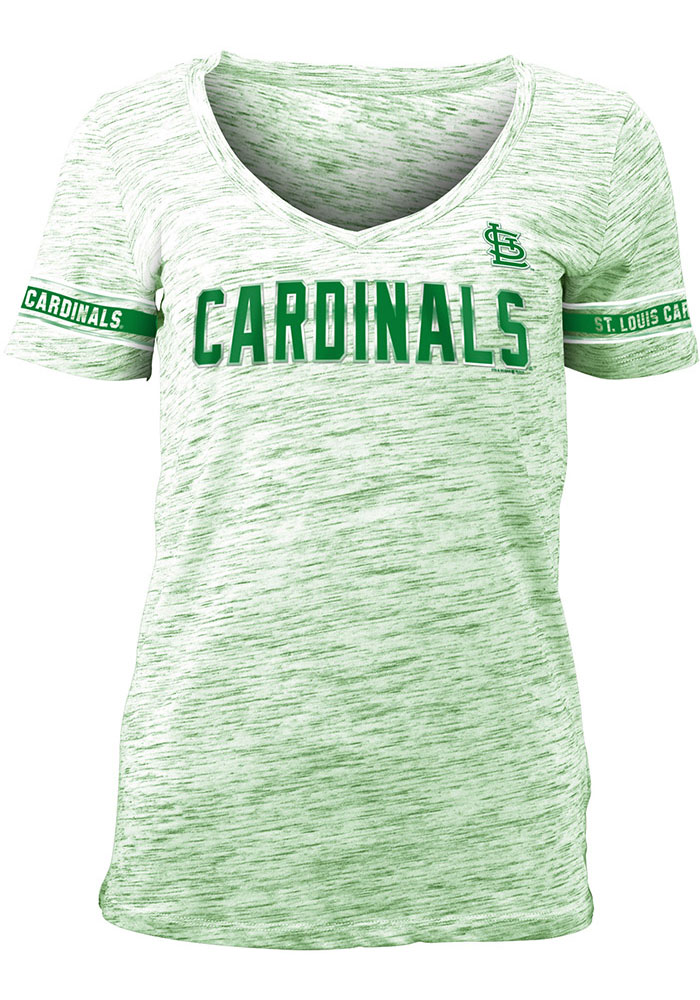 St Louis Cardinals Womens Kelly Green St. Patrick's Day Space Dye V Neck Short Sleeve T-Shirt - Image 1