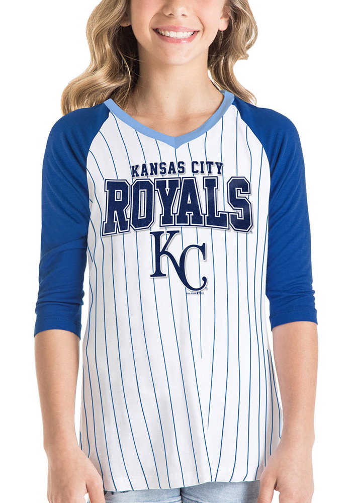 Kansas City Royals Girls White Glitter Fan Long Sleeve T-shirt - Image 1