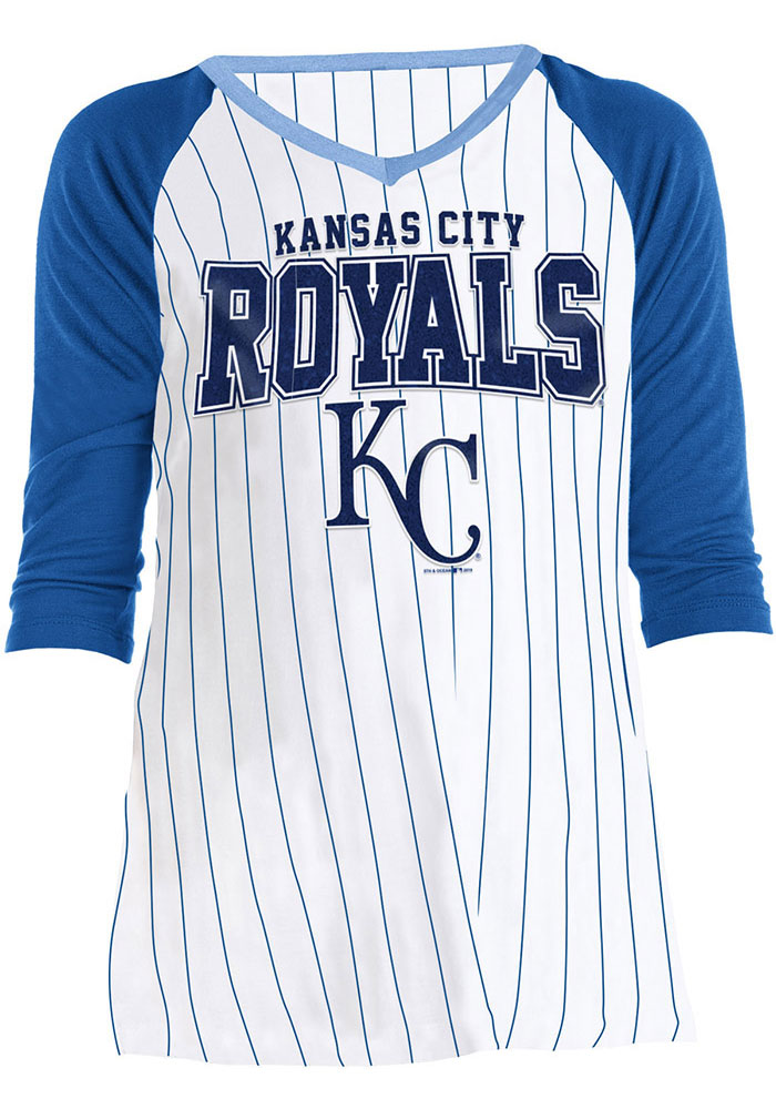 Kansas City Royals Girls White Glitter Fan Long Sleeve T-shirt - Image 2