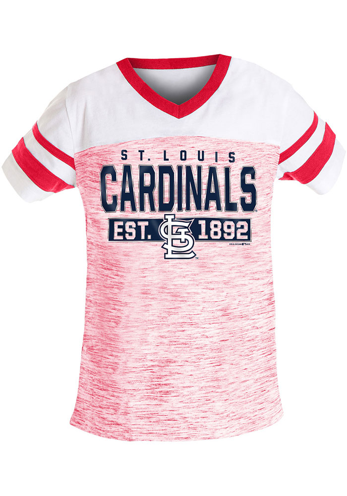 St Louis Cardinals Girls Red Space Dye Short Sleeve Fashion T-Shirt - Image 1