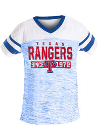 Texas Rangers Girls Space Dye Fashion T-Shirt - Blue