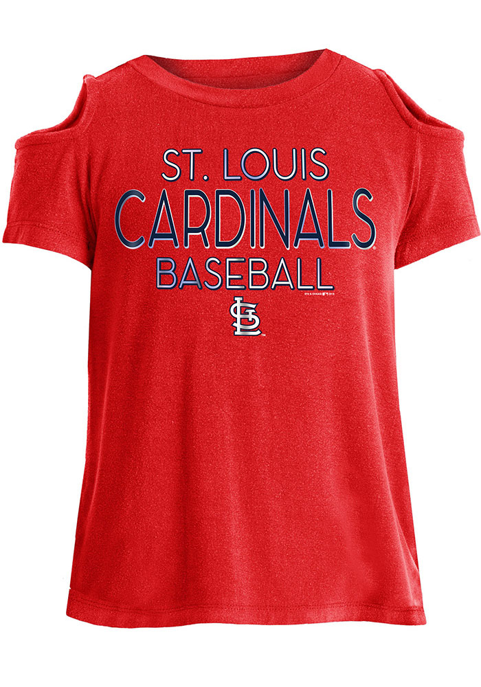 St Louis Cardinals Girls Red Cold Shoulder Short Sleeve Fashion T-Shirt - Image 1