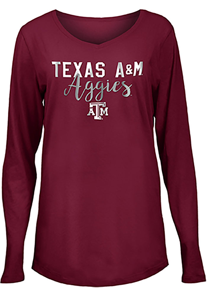 Texas A&M Aggies Womens Maroon Timeless Taylor LS Tee - Image 1