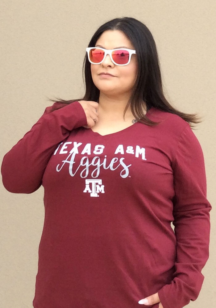 Texas A&M Aggies Womens Maroon Timeless Taylor LS Tee - Image 2