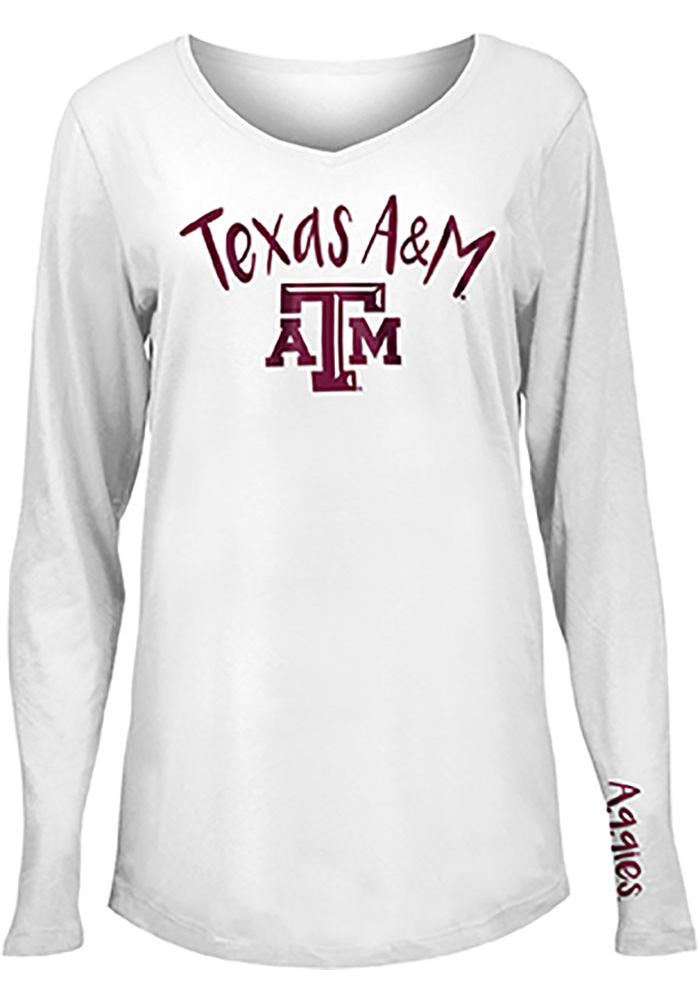 Texas A&M Aggies Womens White Timeless Dana LS Tee - Image 1