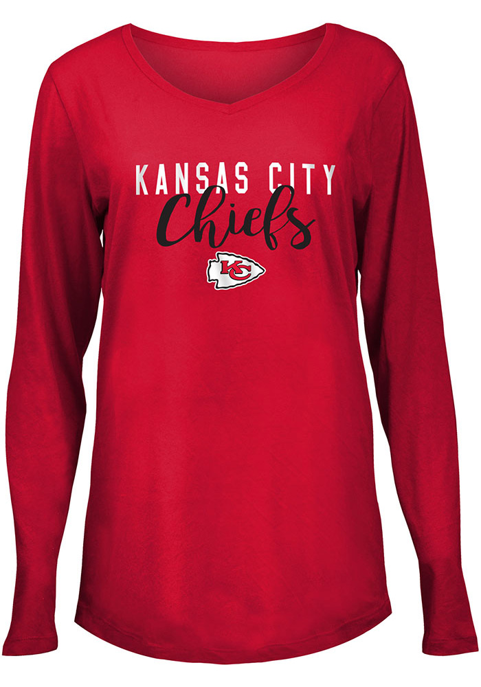 Kansas City Chiefs Womens Red Timeless Taylor LS Tee - Image 1
