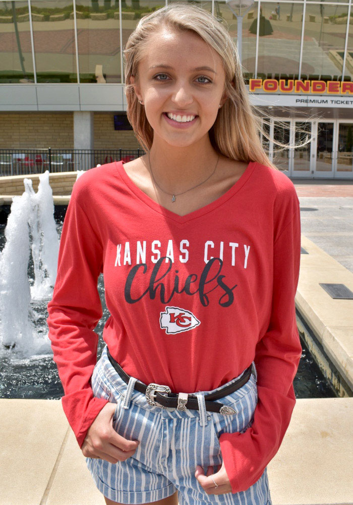 Kansas City Chiefs Womens Red Timeless Taylor LS Tee - Image 2