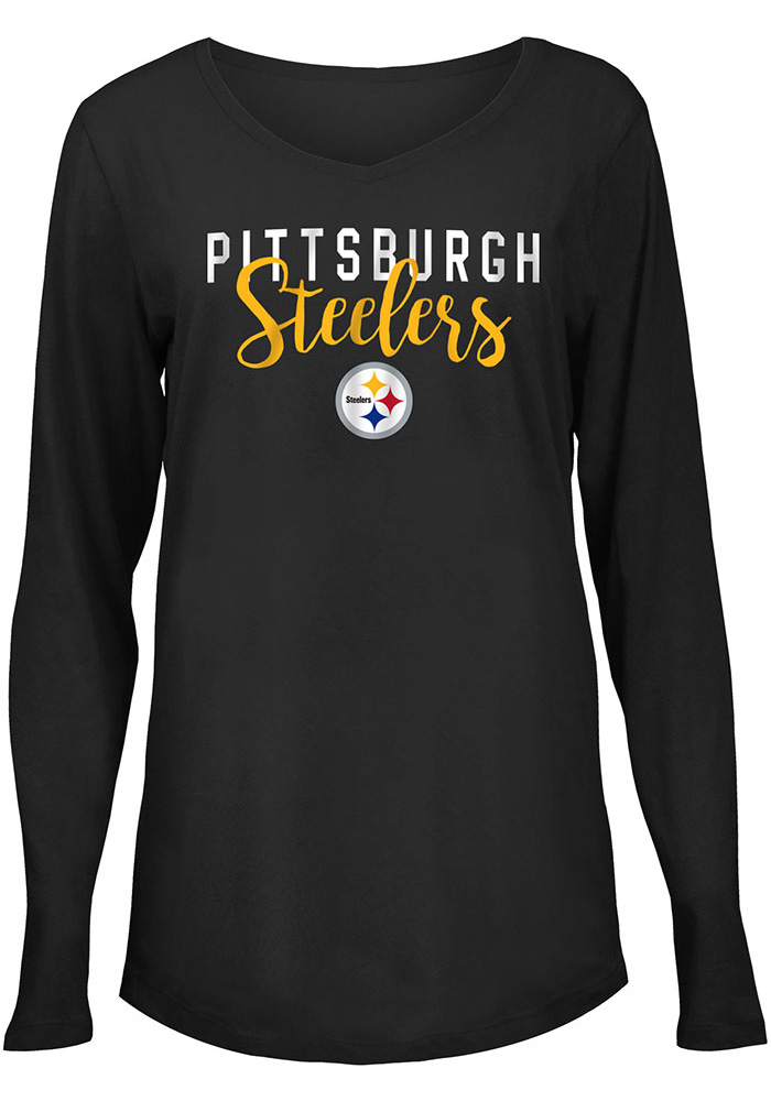 Pittsburgh Steelers Womens Black Timeless Taylor LS Tee - Image 1