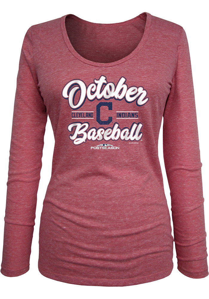 Cleveland Indians Womens Red 2018 Postseason Triblend LS Tee - Image 1